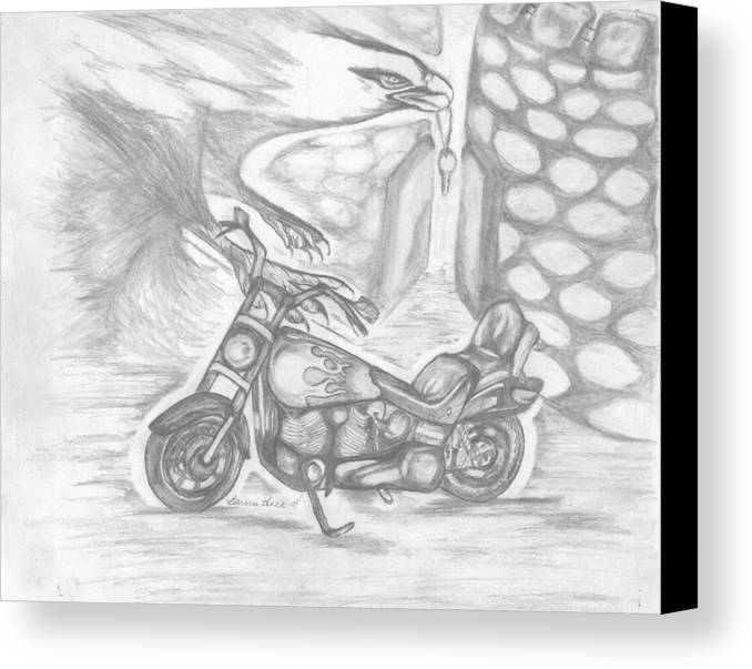 Harley Canvas Print featuring the drawing Freedom by Barbara Cleveland