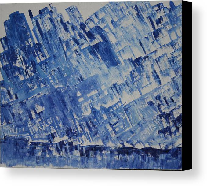 Canvas Print featuring the painting Frozen City by Prakash Bal Joshi