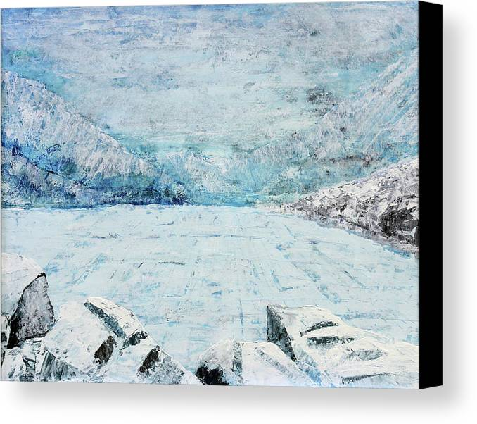 Lake Canvas Print featuring the painting Frozen Lake by Morten Hjerpsted
