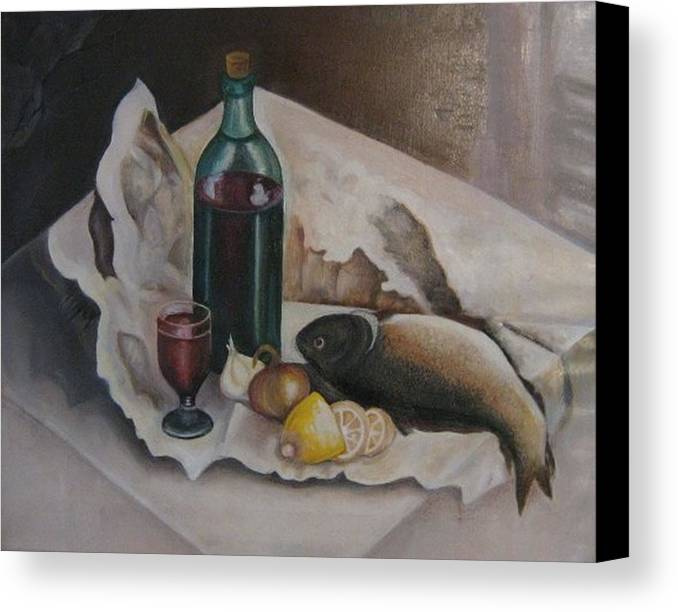 Still Life Canvas Print featuring the painting Frugal Meal by Netka Dimoska