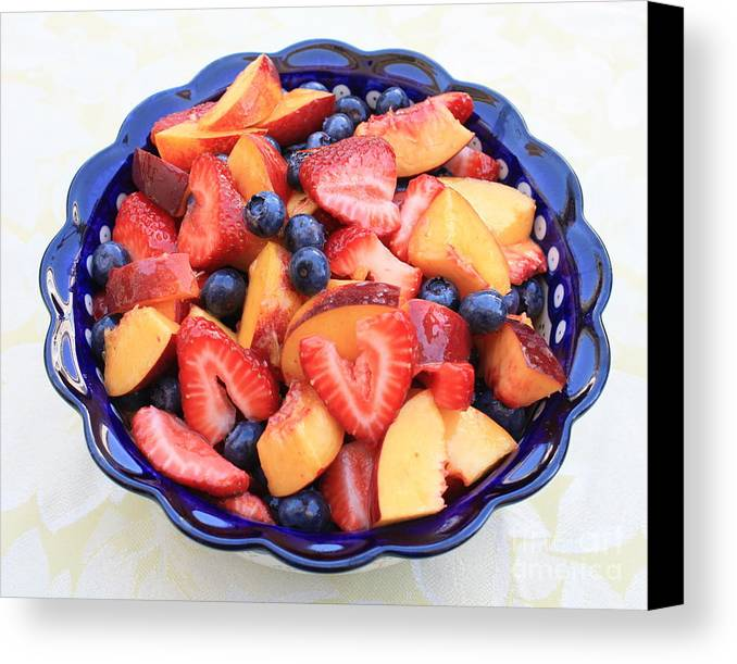 Food And Beverages Canvas Print featuring the photograph Fruit Salad In Blue Bowl by Carol Groenen
