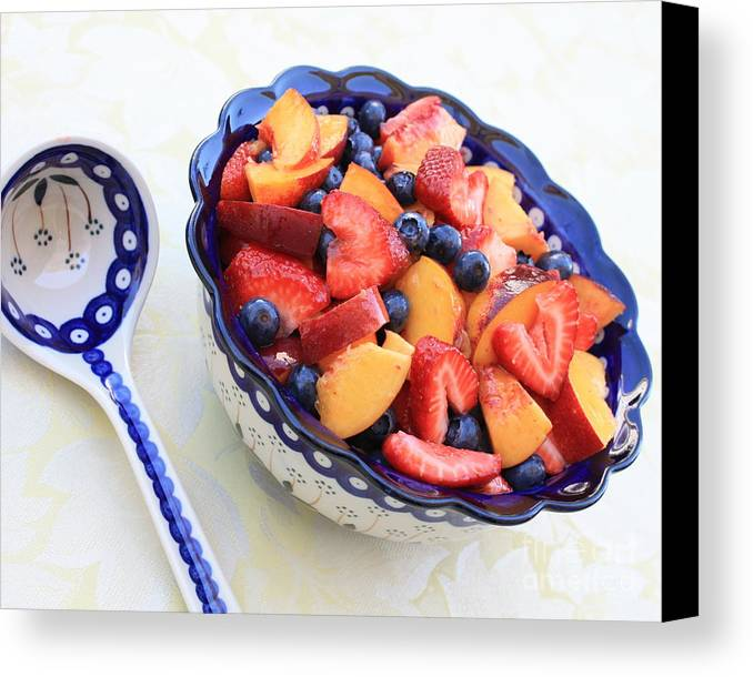 Fruit Canvas Print featuring the photograph Fruit Salad With Spoon by Carol Groenen