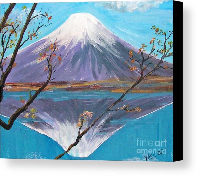 Mountain Canvas Print featuring the painting Fuji San by Yael Eylat-Tanaka