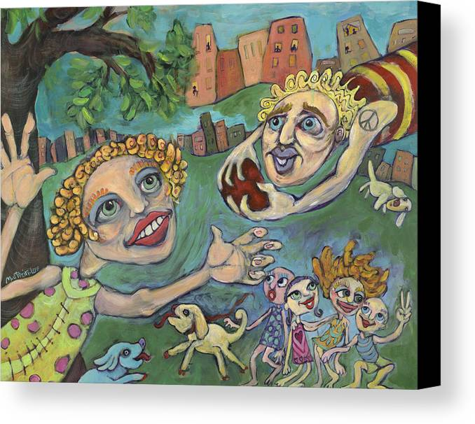 Whimsical Canvas Print featuring the painting Fun At The Park by Michelle Spiziri
