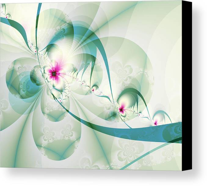 Fractal Canvas Print featuring the digital art Galactic Flower by Frederic Durville