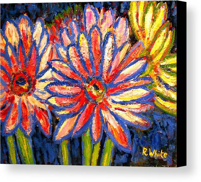 Flowers Canvas Print featuring the painting Gerberas Number Three by Rob White