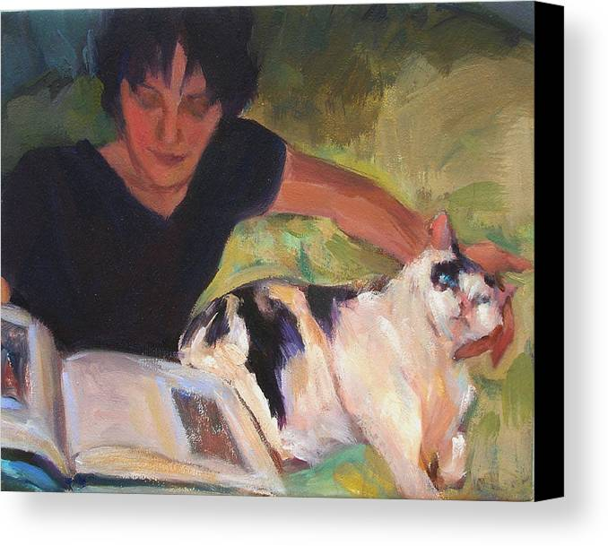 Woman Canvas Print featuring the painting Girl With Cat by Merle Keller