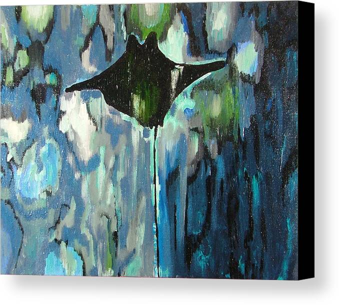 Stingray Canvas Print featuring the painting Gliding Stingray by Heather Lennox