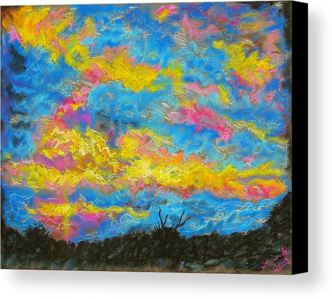 Landscape Canvas Print featuring the drawing Glorious Sunset 2 by Laura Heggestad