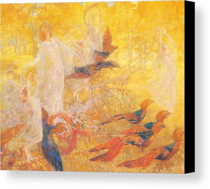 Kazimierz Stabrowski Canvas Print featuring the painting Golden Autumn Fairy Tale by MotionAge Designs