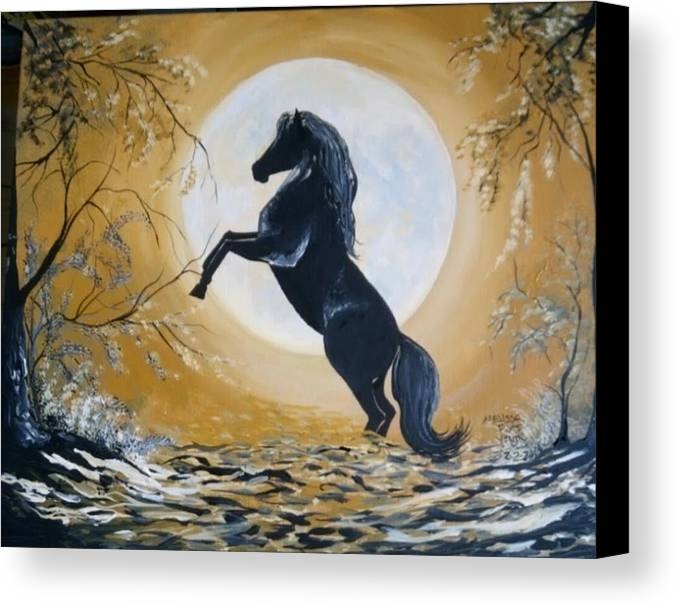 Black Horse In Golden Moon. Canvas Print featuring the painting Golden Moon by Melissa Young