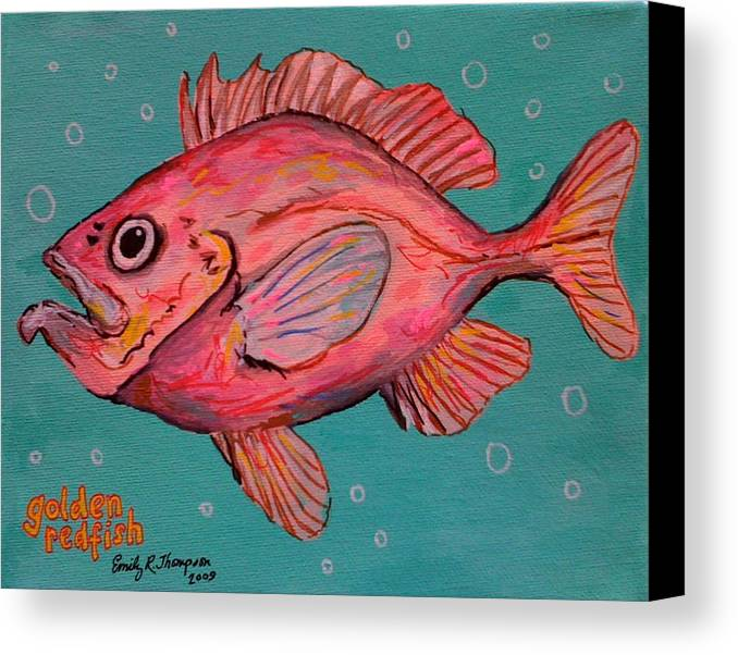 Fish Whimsical Animal Redfish Ocean Pink Canvas Print featuring the painting Golden Redfish by Emily Reynolds Thompson