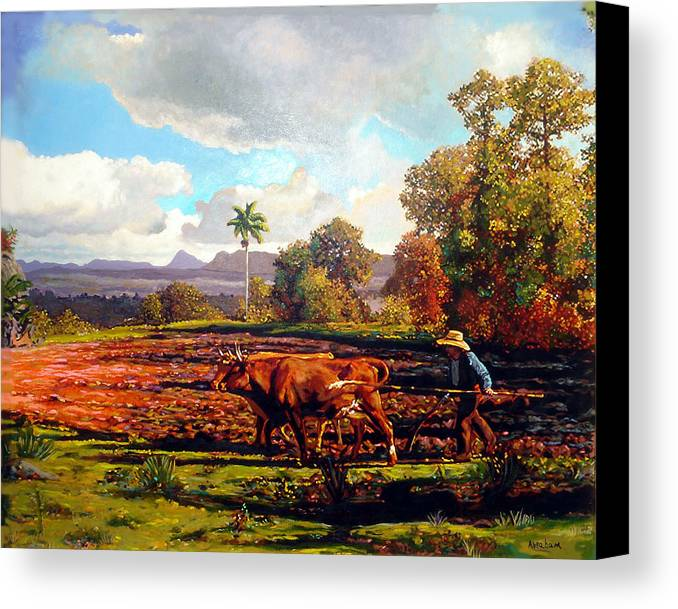 Cuban Art Canvas Print featuring the painting Grandfather Farm by Jose Manuel Abraham