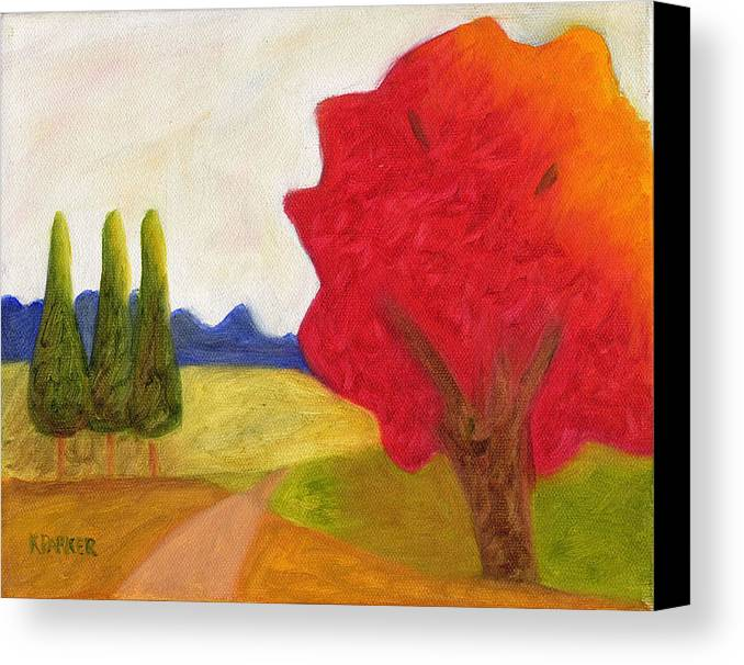Landscape Canvas Print featuring the painting Green Trees by Kelly Parker