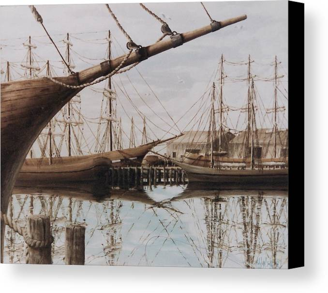 Ships Canvas Print featuring the painting Harbor At Rest by Steven Welch