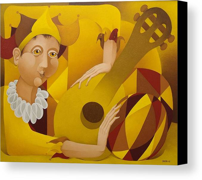 Sacha Canvas Print featuring the painting Harlequin With Lute 2003 by S A C H A - Circulism Technique