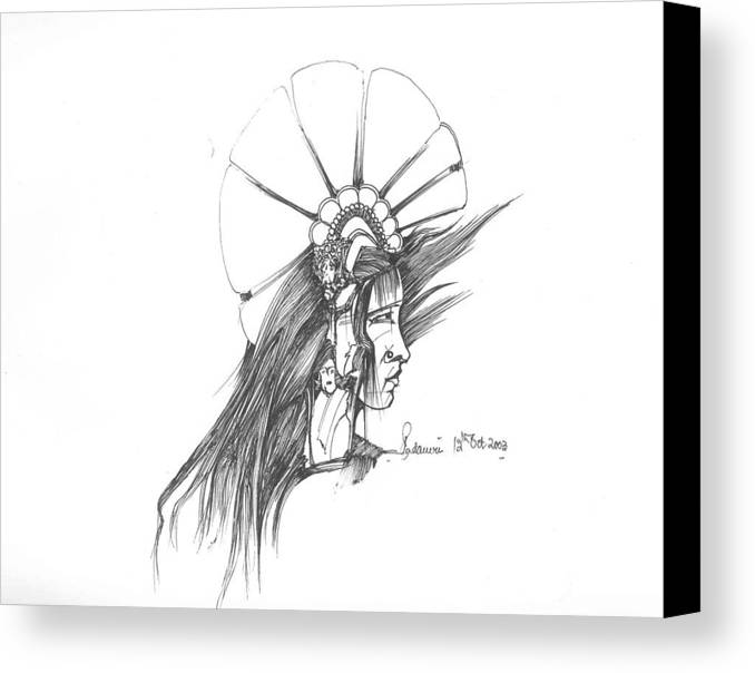 Human Canvas Print featuring the drawing Head by Padamvir Singh