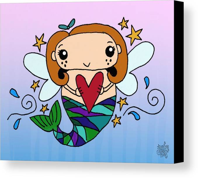 Mermaid Canvas Print featuring the mixed media Heart Of The Ocean by Jennifer Heath Henry