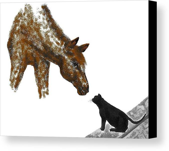 Horses Canvas Print featuring the digital art Hello Down There by Carole Boyd