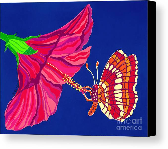 Nature Canvas Print featuring the drawing Hibiscus And Butterfly by Lucyna A M Green