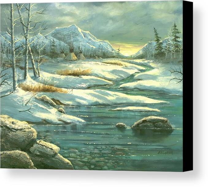 Landscape Canvas Print featuring the painting High Winter Camp by Brooke Lyman