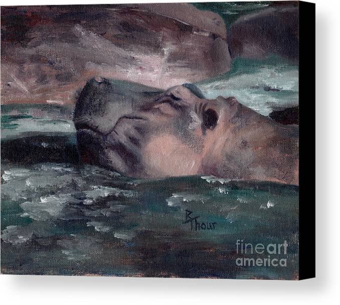 Hippo Canvas Print featuring the painting Hippo by Brenda Thour