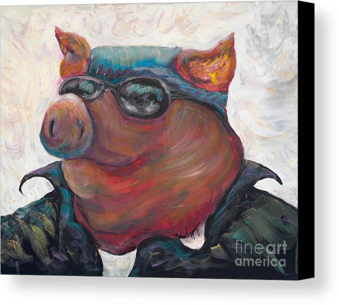 Hog Canvas Print featuring the painting Hogley Davidson by Nadine Rippelmeyer
