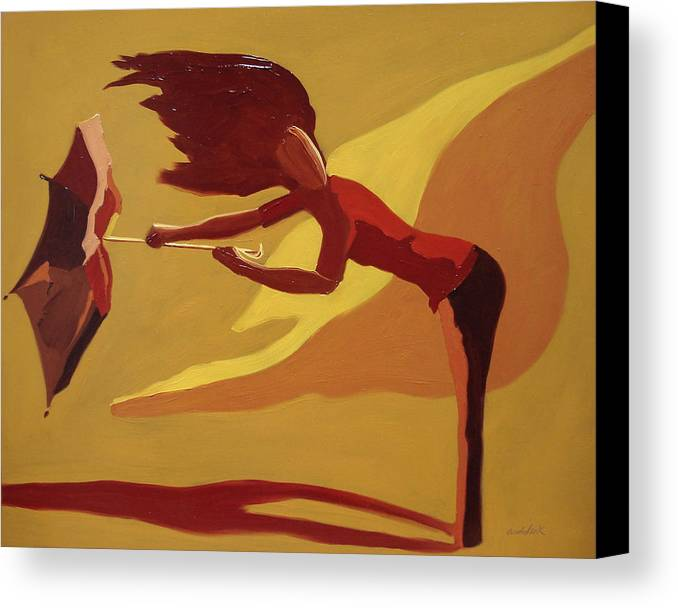 Woman Canvas Print featuring the painting Hold On by Barbara Andolsek