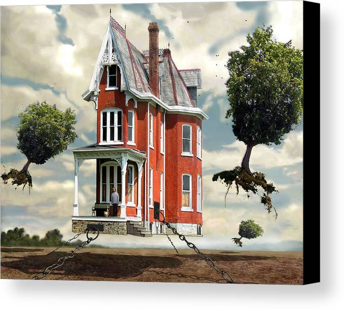 Surreal Canvas Print featuring the digital art Holding On by Evelynn Eighmey