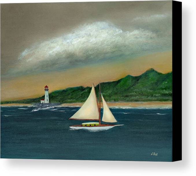 Ocean Seascape Sailboat Lighthouse Shoreline Nature Travel Gordon Beck Art Canvas Print featuring the painting Homeward by Gordon Beck