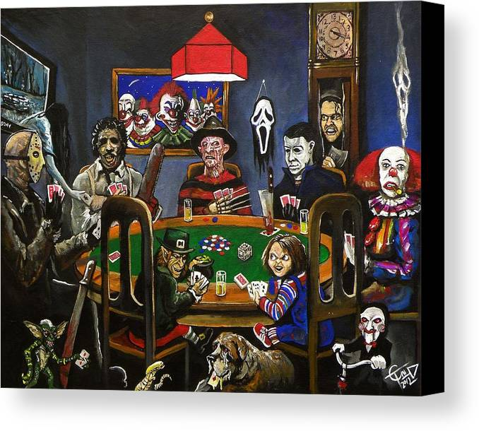Horror Canvas Print featuring the painting Horror Card Game by Tom Carlton