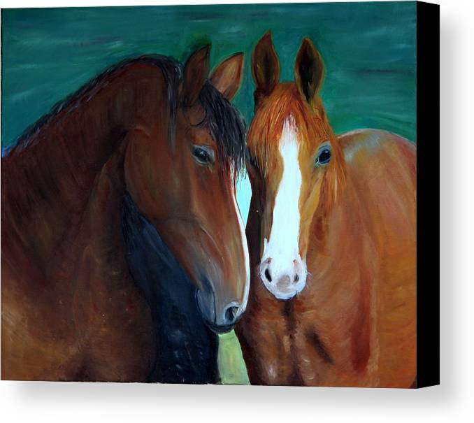 Horses Canvas Print featuring the painting Horses by Taly Bar