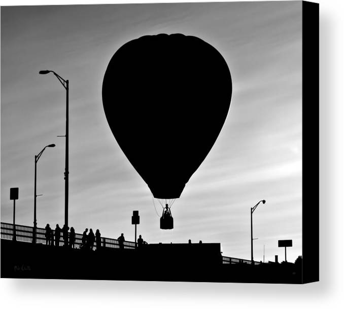 Silhouette Canvas Print featuring the photograph Hot Air Balloon Bridge Crossing by Bob Orsillo