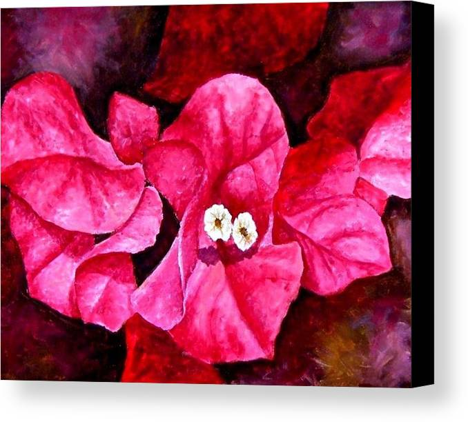 Oil Canvas Print featuring the painting Hot Pink Bougainvillea by Darla Brock