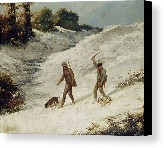 Hunters Canvas Print featuring the painting Hunters In The Snow Or The Poachers by Gustave Courbet