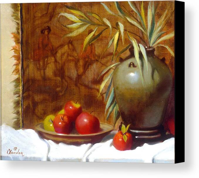 Still Life Canvas Print featuring the painting Hunting Tapestry With Chinese Vase And Apples by David Olander
