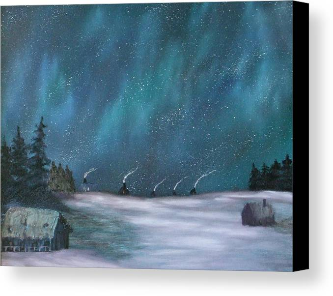 Icefishing Canvas Print featuring the painting Ice Fishing Huts by Rebecca Fitchett