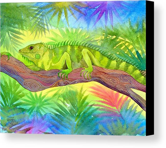 Iguana Rain Forest Jungle Tropical Wild Life Nature Canvas Print featuring the painting Iguana by Jennifer Baird