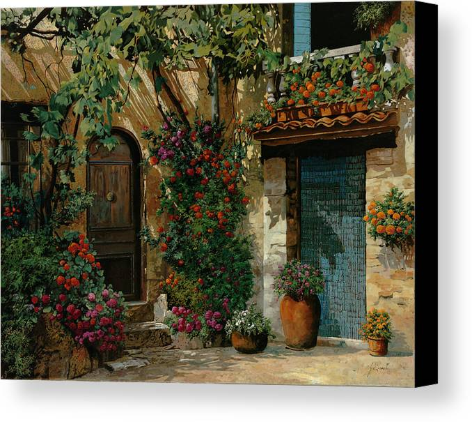 Landscape Canvas Print featuring the painting Il Giardino Francese by Guido Borelli
