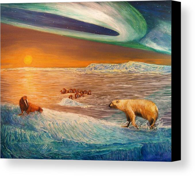 Walrus Canvas Print featuring the painting Impending Threat by Dianne Roberson
