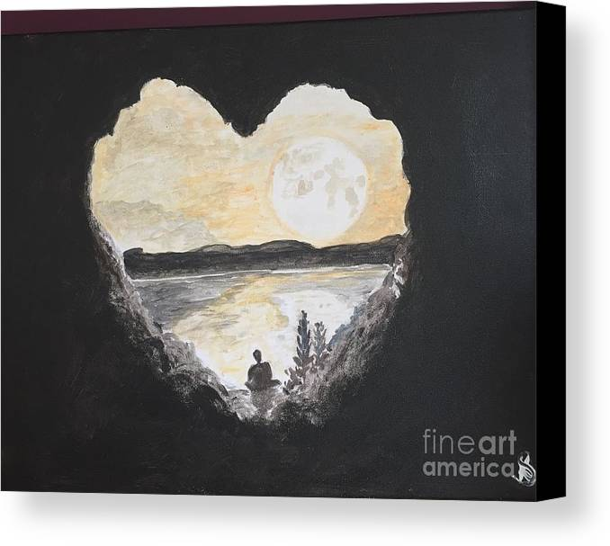Medi Canvas Print featuring the painting In Love With Meditation by Kimmi Sandhu