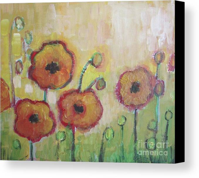 Poppies Canvas Print featuring the painting Poppies At Dusk by Vesna Antic