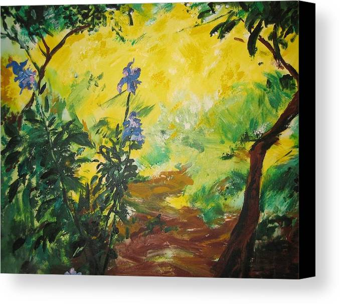 Sunlight Canvas Print featuring the painting Irises And Sunlight by Lizzy Forrester