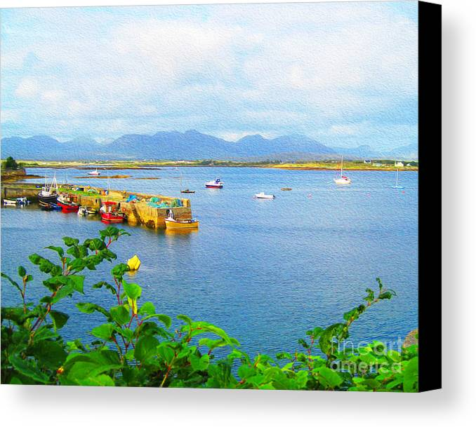 Canvas Print featuring the digital art Roundstone Seaport by Joseph Re
