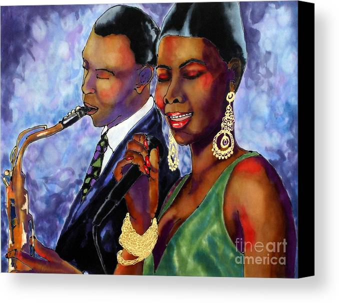 Silk Canvas Print featuring the painting Jazz Duet by Linda Marcille