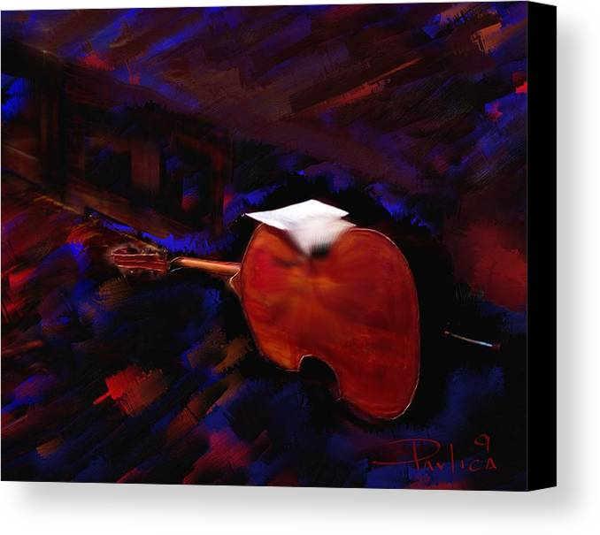Music Canvas Print featuring the digital art Jazz Tribute Louis Armstrong by Donald Pavlica