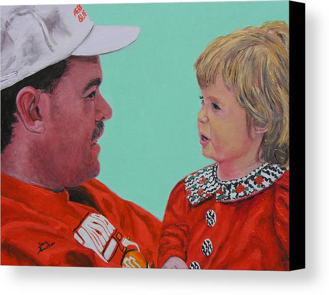 Portrait Canvas Print featuring the painting John And Megan by Stan Hamilton