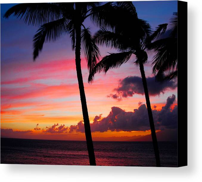 Kaanapali Sunset Canvas Print featuring the photograph Kaanapali Sunset Kaanapali Maui Hawaii by Michael Bessler
