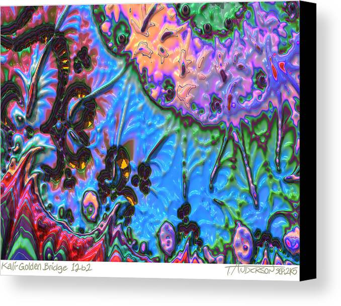 Fractal Image Canvas Print featuring the digital art kaleido fa-GoldenBridge12b2 by Terry Anderson