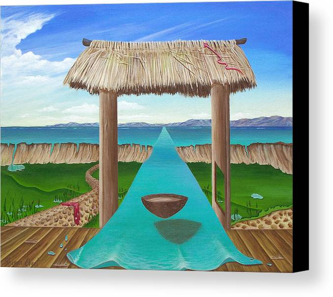 Surreal Painting Canvas Print featuring the painting Kava Flow by Sharon Ebert